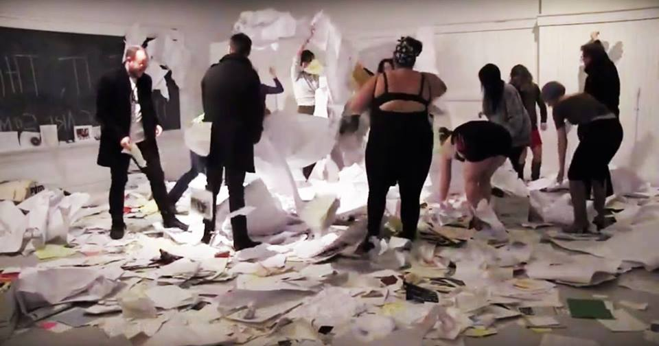 "lo bil: https://youtu.be/FlZMij9igTs ""Another Way to Organize the Archive""  Still from video documentation by Adriana Disman from the end of ""The Clearing"" an 11-hour performance installation that took place on November 1, 2014 as part of the 7a*11d International Festival of Performance Art. — with Lo Bil."